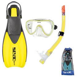 Seac Tris Sprint MD Snorkel set in de maat 36 - 38 in de kleur geel